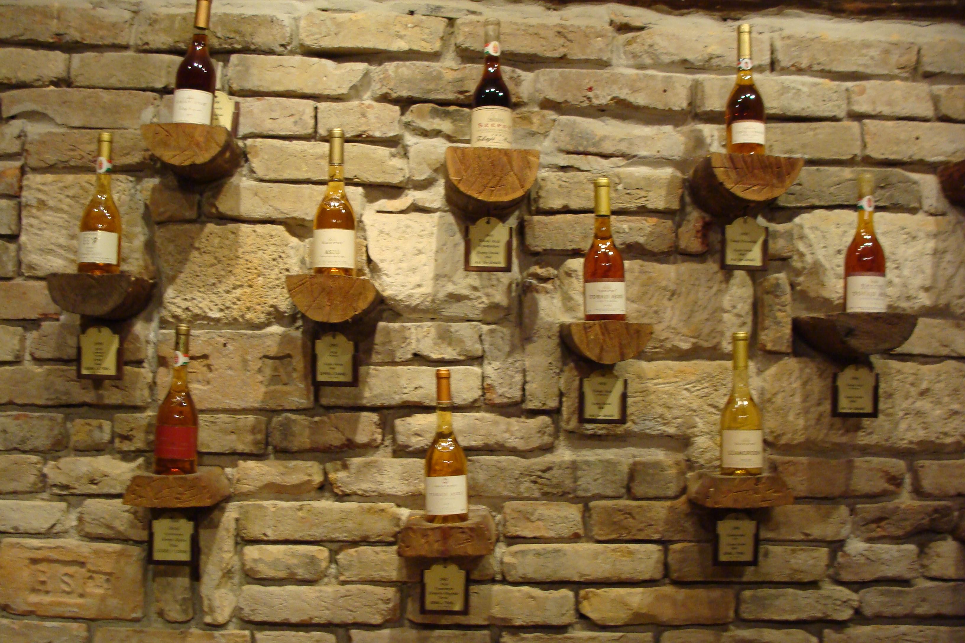 Various Tokaji wines in Preshaz wine shop