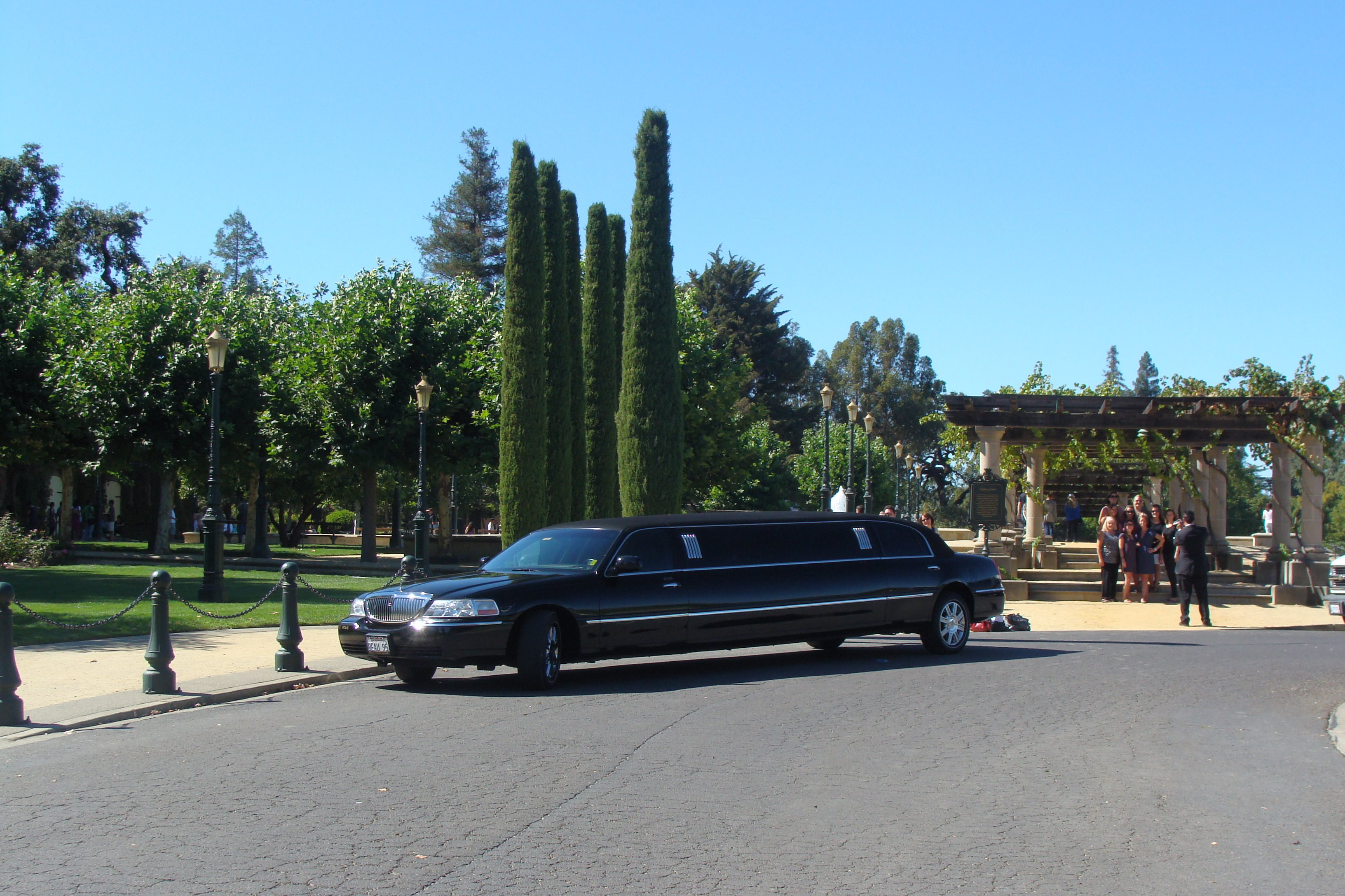 A luxurious limo waiting for carefree wine tourists