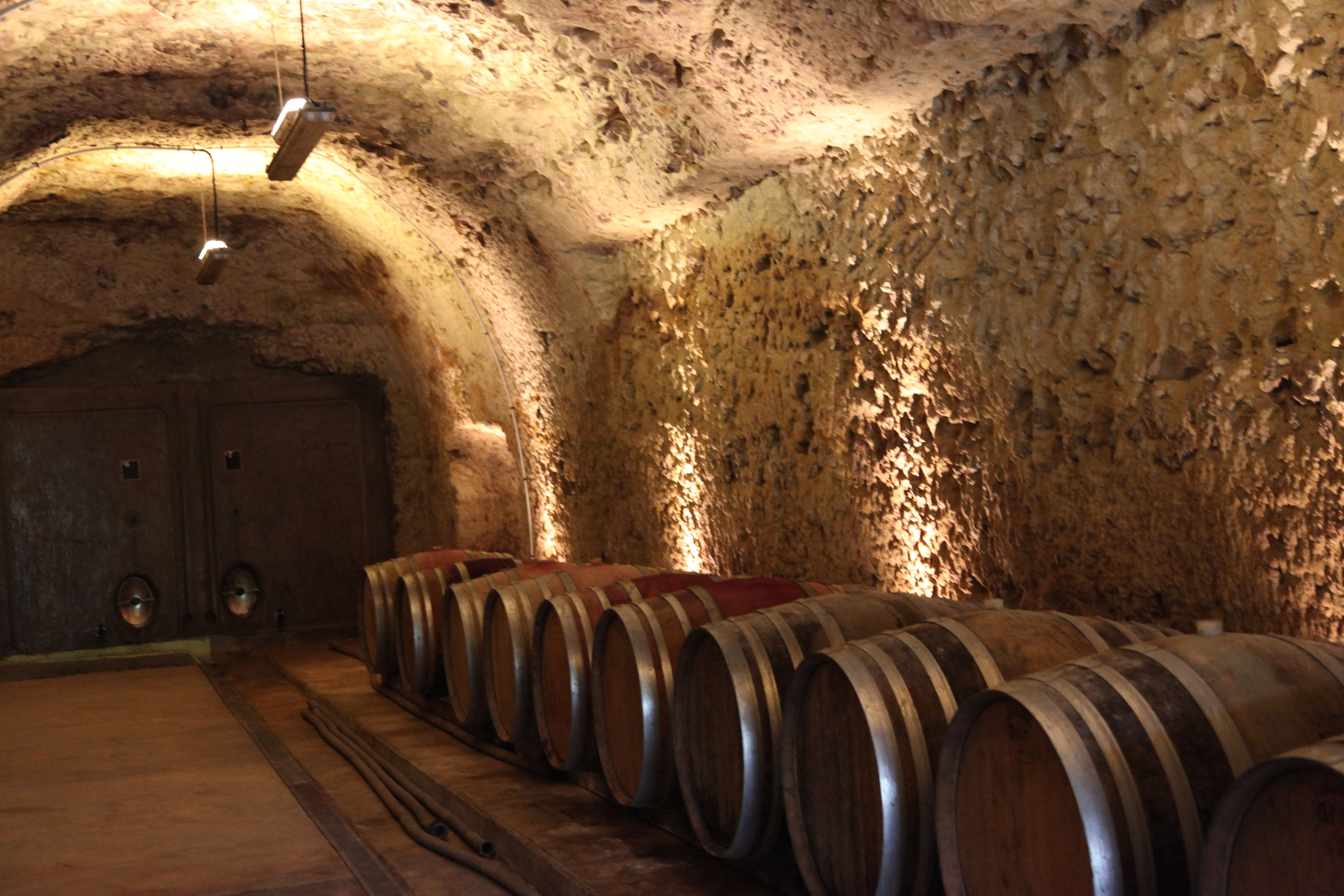 Loire wine cave made of tuffeau stone