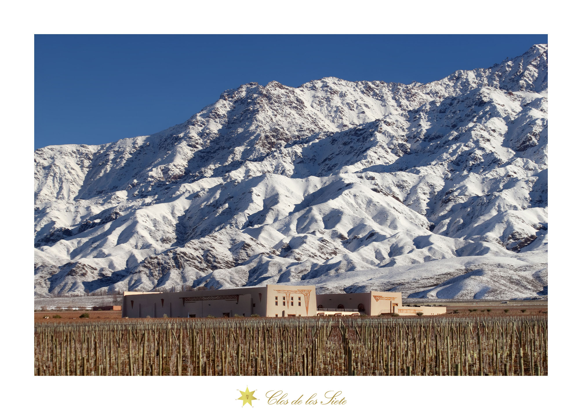 Snow capped mountains above Clos de los 7