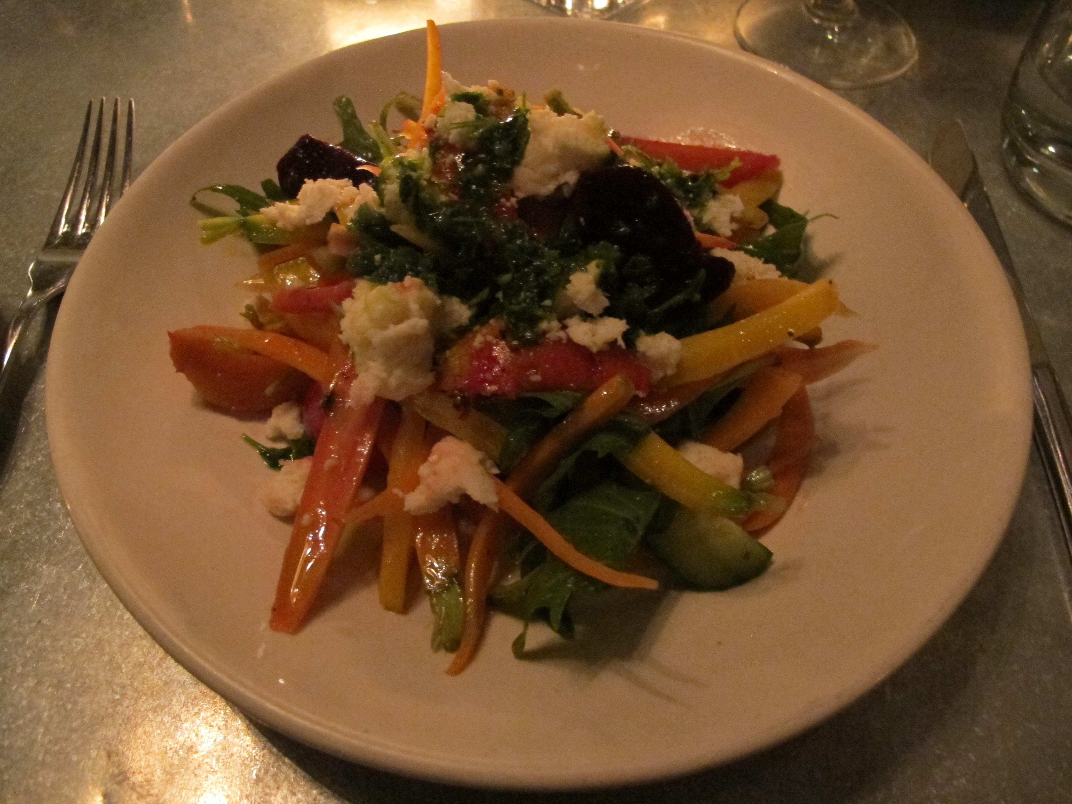 Spiced carrot and beet salad with queso fresco and green harissa