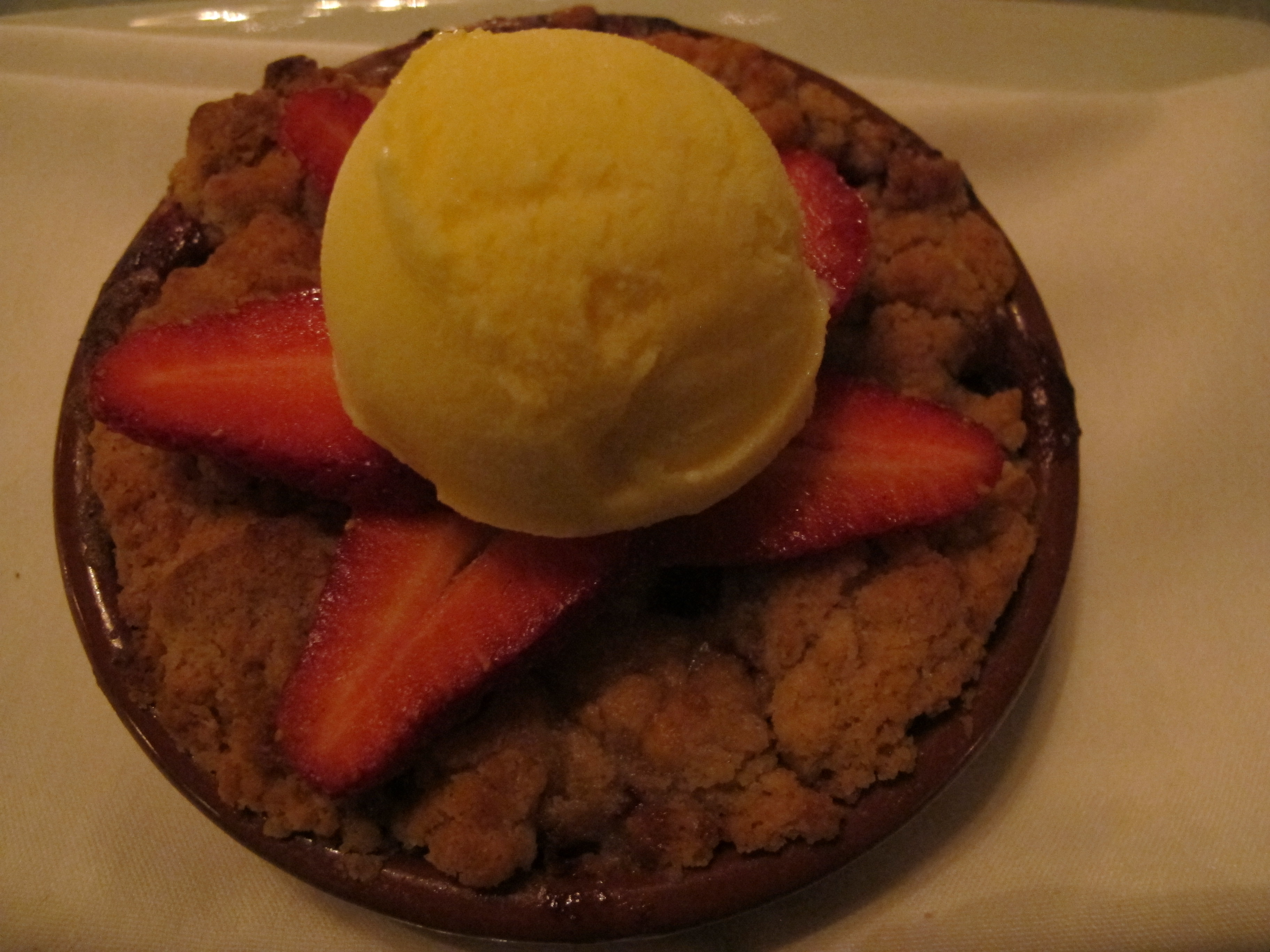 The strawberry-rhubarb buckle  gaviota strawberries, streusel and buttermilk ice-cream.