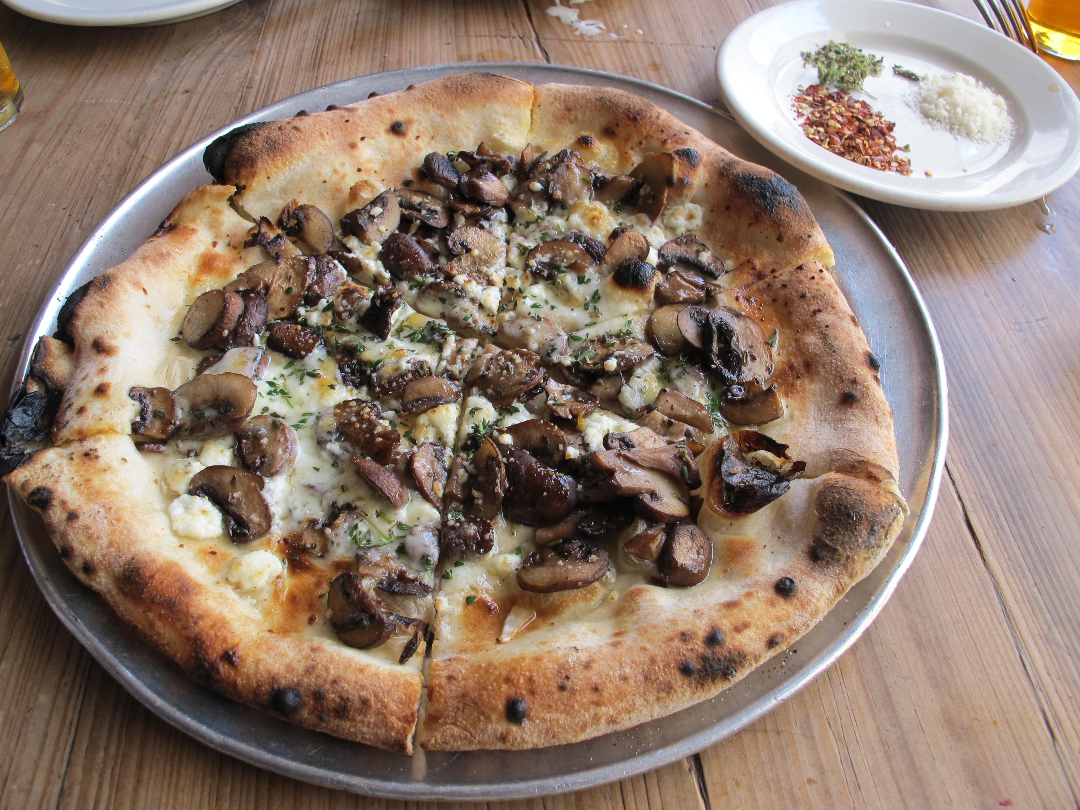 Crispy mushroom pizza at Gjelina in Venice