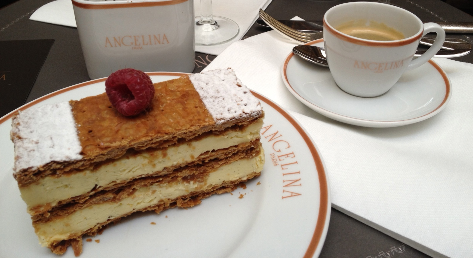 Millefeuille and a cup of espresso at Angelina tea room in Paris