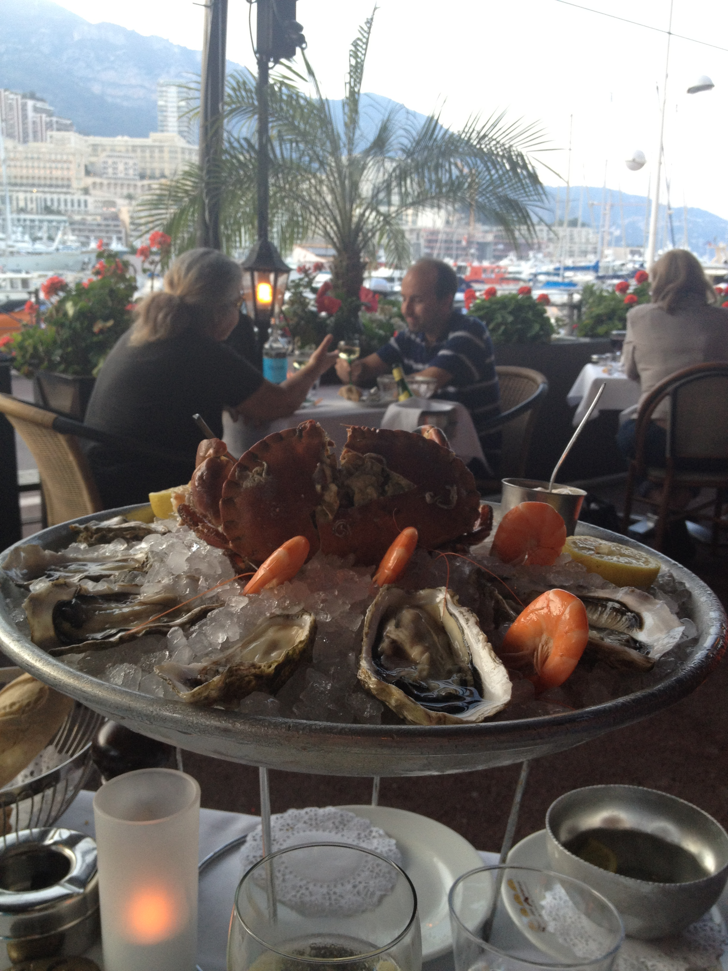 Seafood platter with the view of the Monaco's port