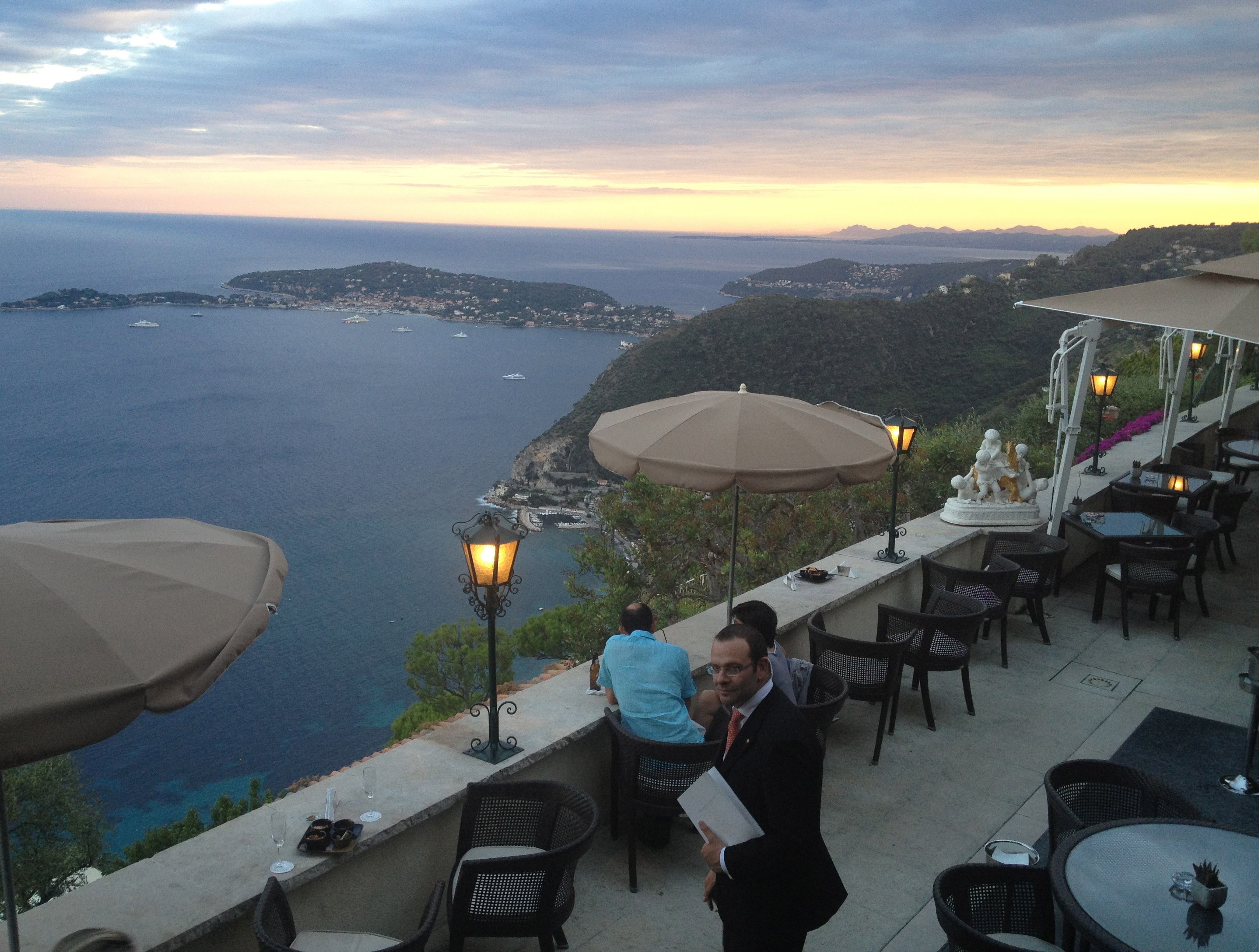 Panoramic view overlooking the bar area with Cap Ferrat at the back