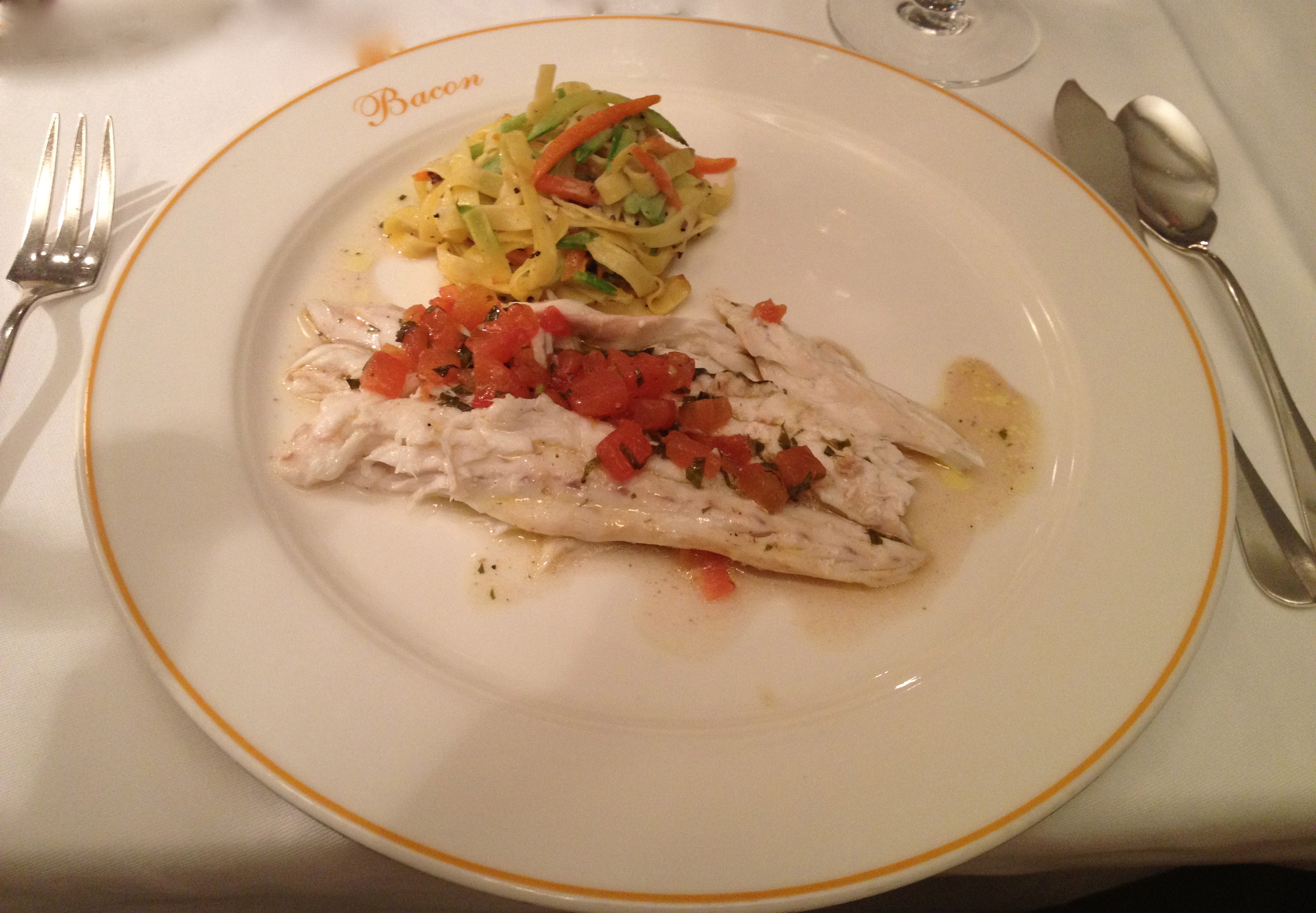 Seabass grandmother style at Bacon
