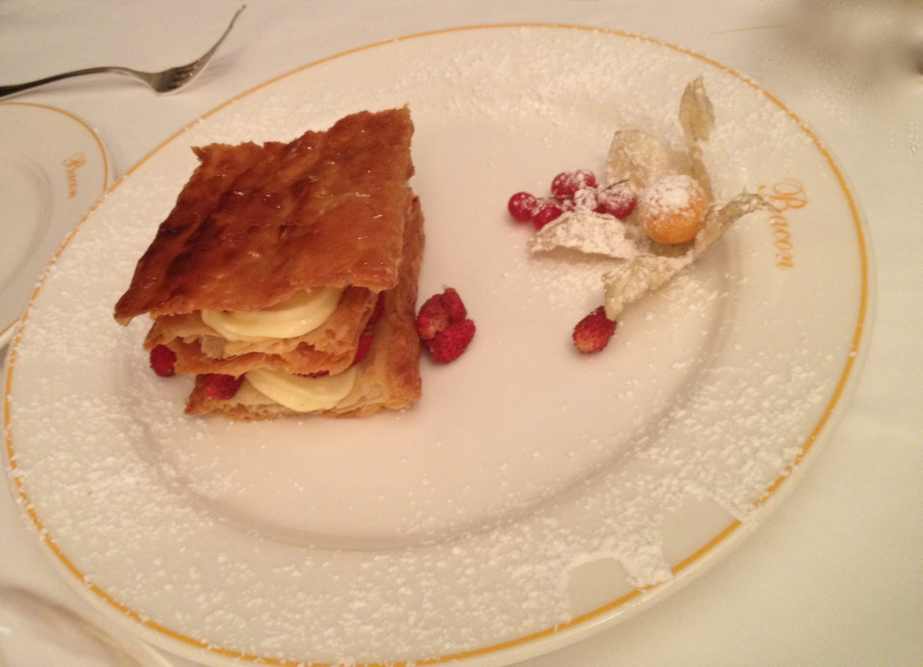 Millefeuille with light cream and forest strawberries
