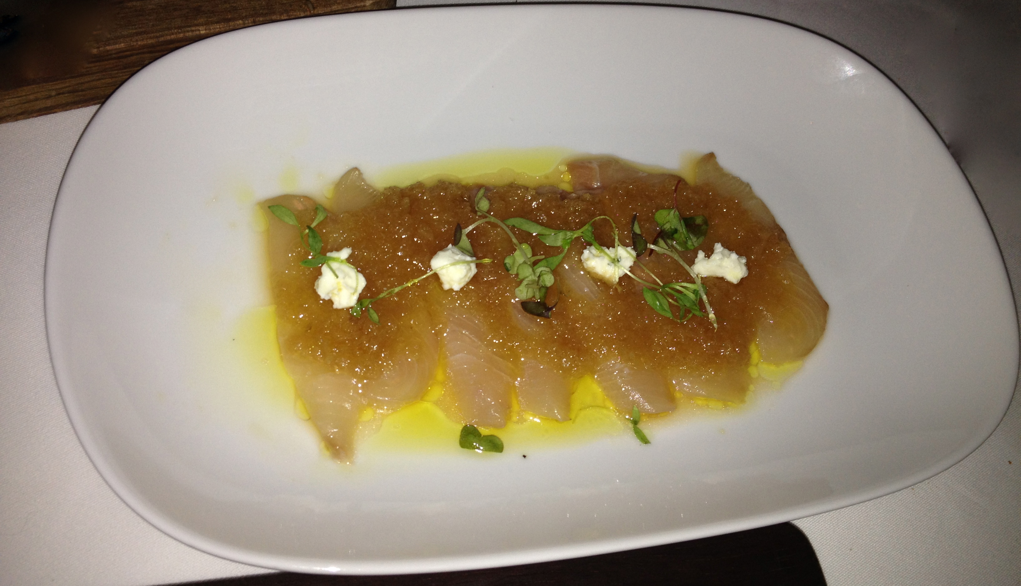 Sashimi of kingfish, ginger, eschallot and goats feta