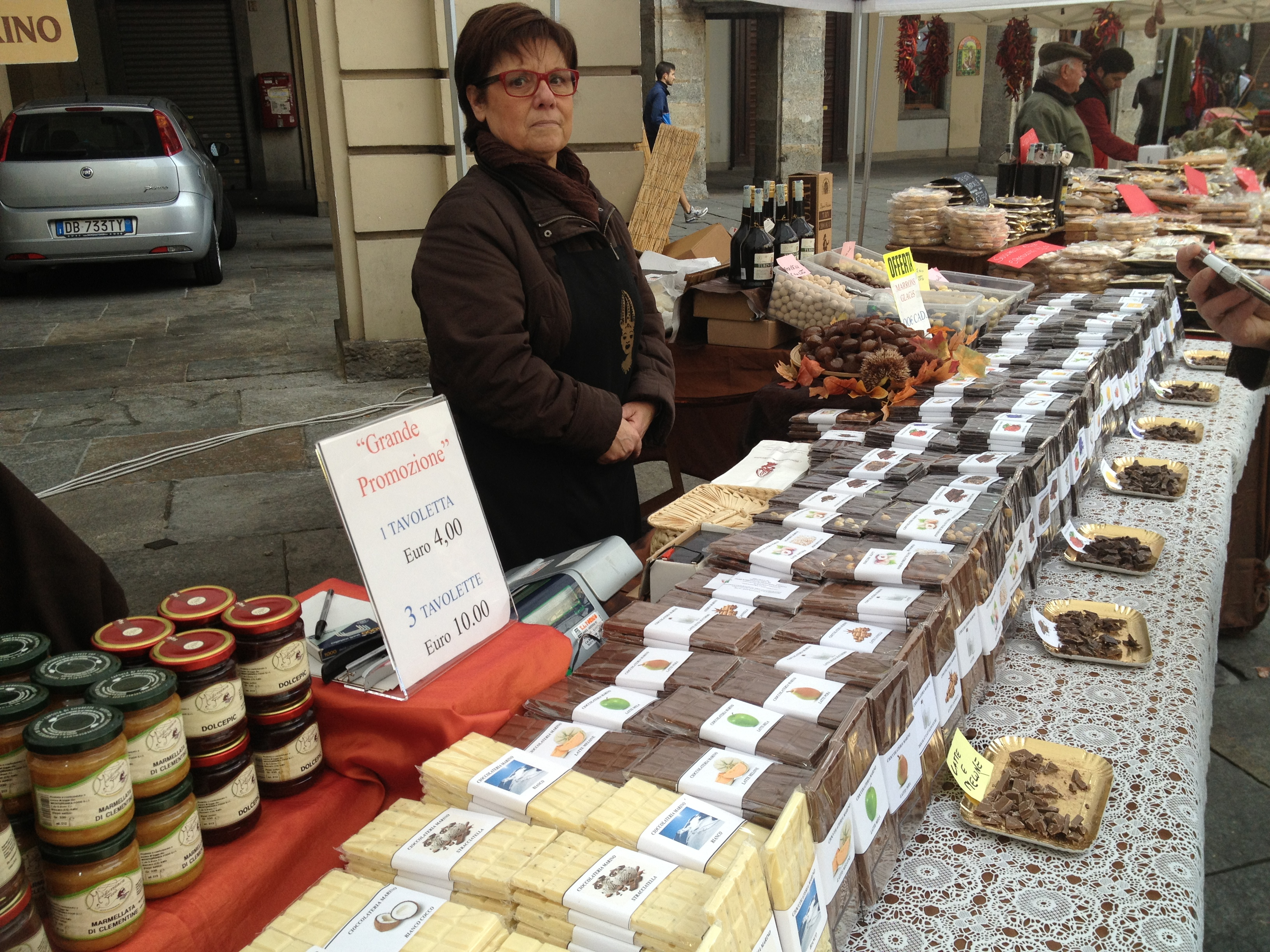 Chocolate seller at farmers market in Turin