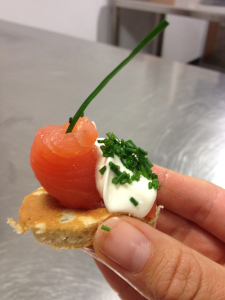 Blini with salmon