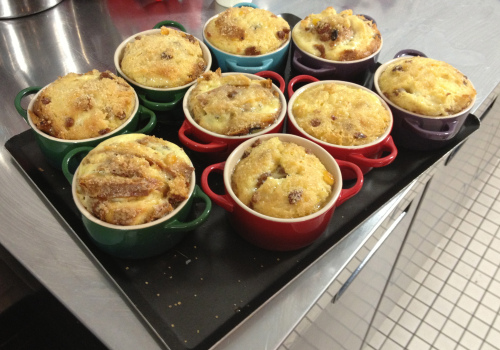 Panettone bread and butter pudding with clotted cream