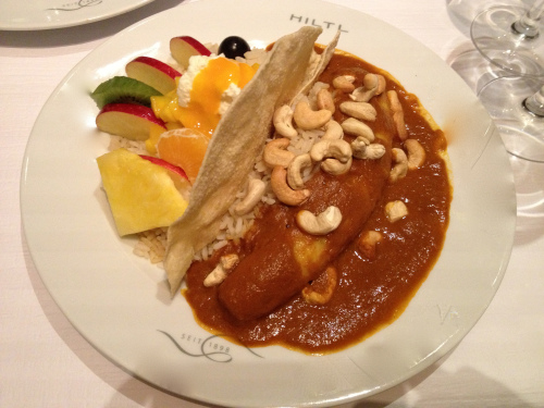 Banana curry with fruits and rice