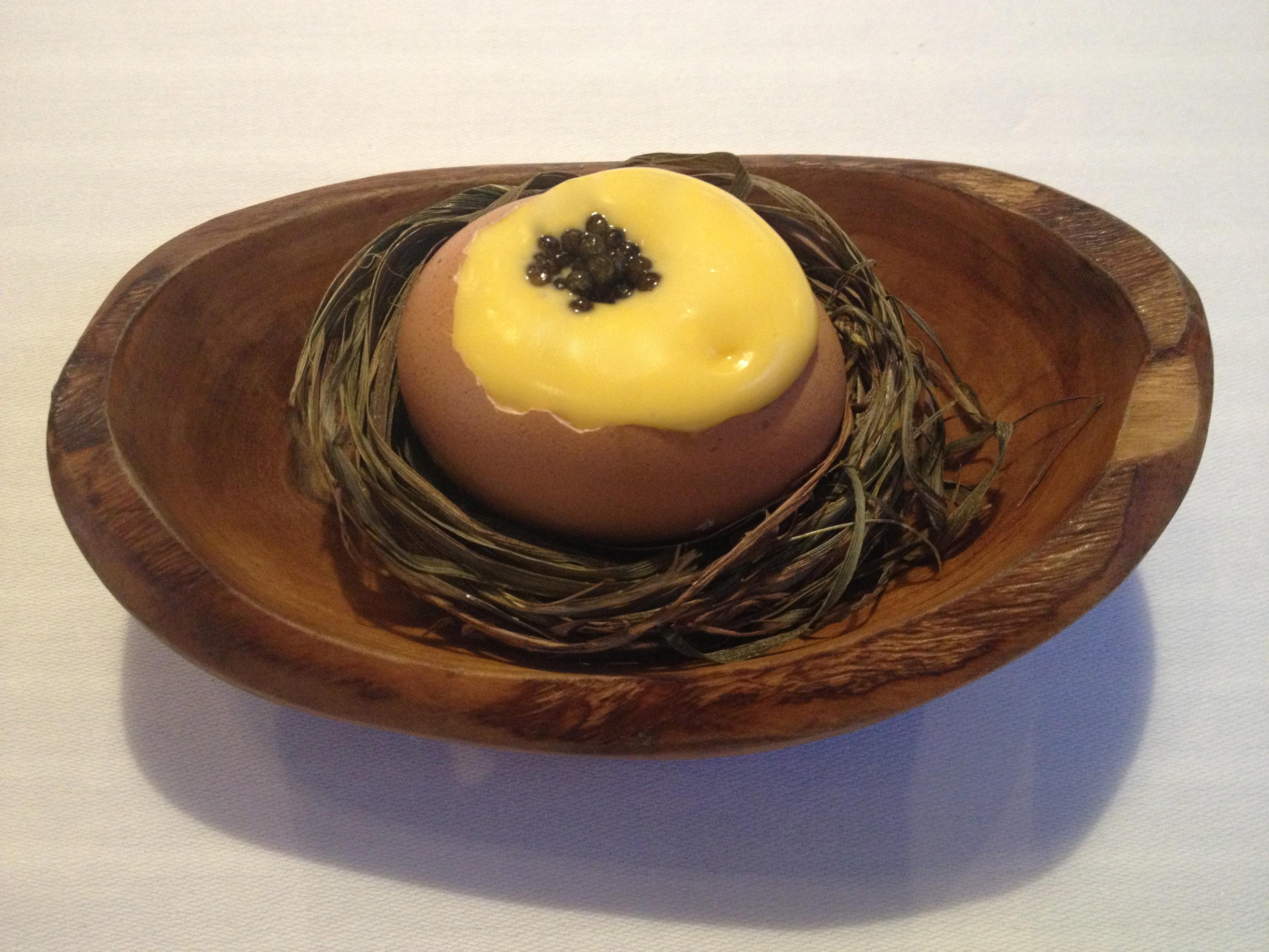 Egg yolk amuse bouche