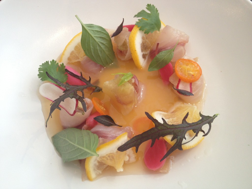 Marinated Saebass-Citrus with Daikon-Wasabi