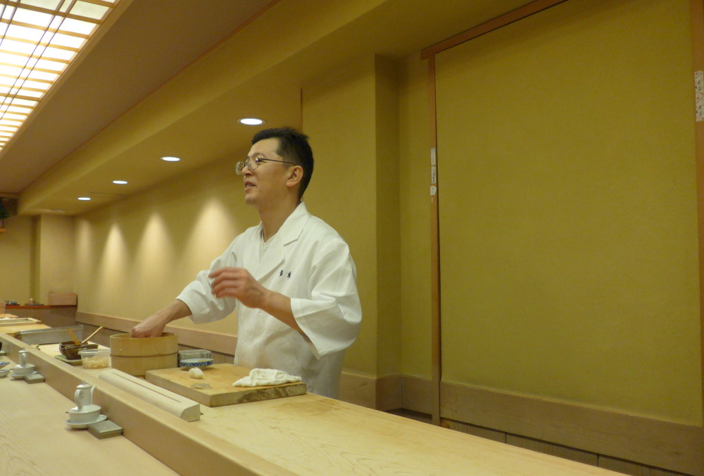 Sushi chef at Ginza Sushi Aoki in action