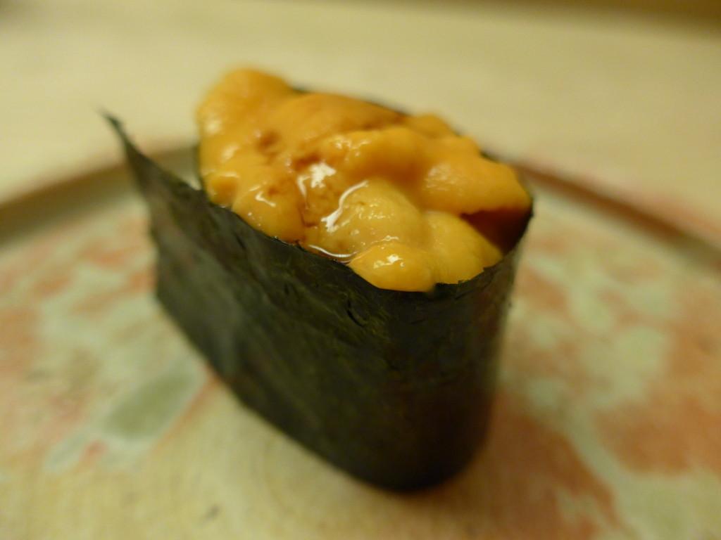 Uni sea urchin sushi at Ginza Sushi Aoki