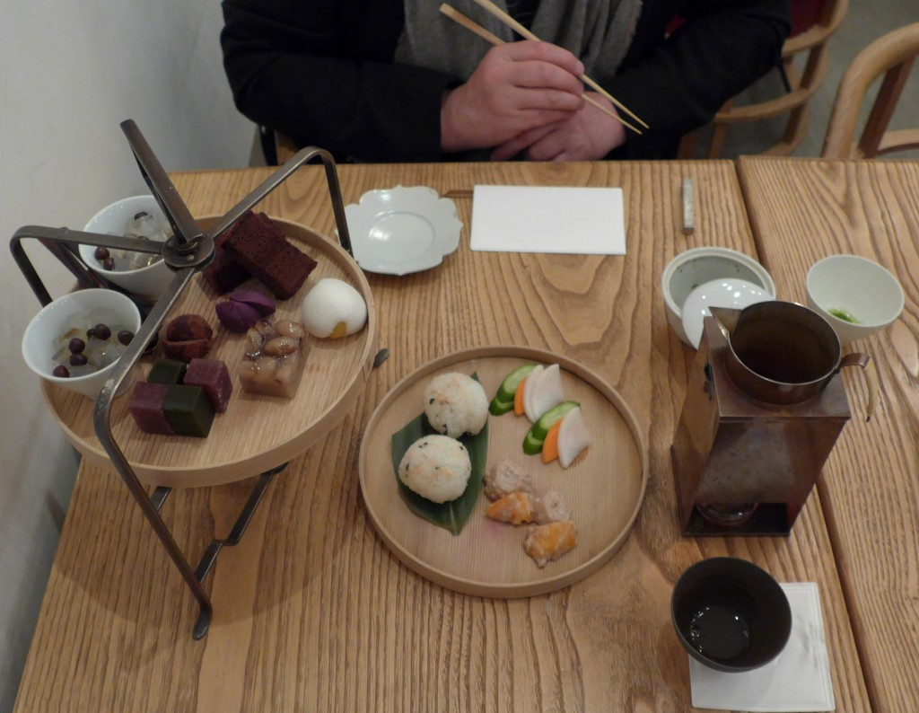 Higashiya Ginza afternoon tea set featuring Japanese sweets and savoury snacks