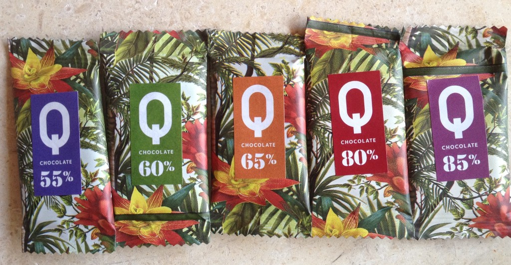Q chocolate bar tasting range