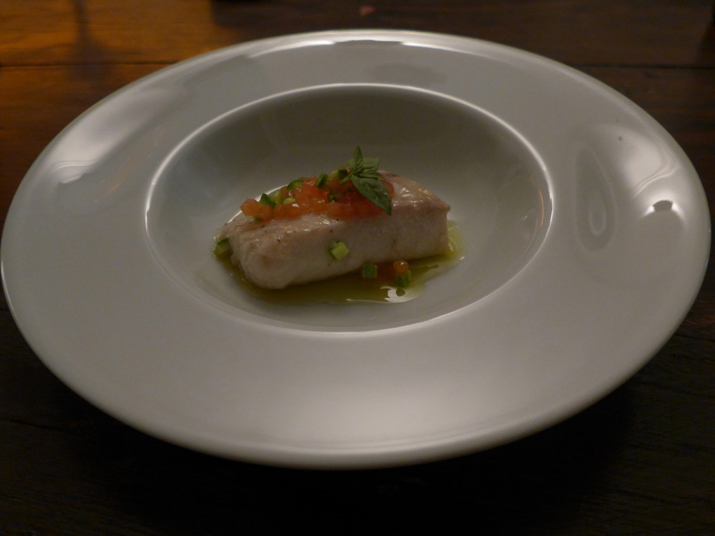 Red snapper poached in olive oil