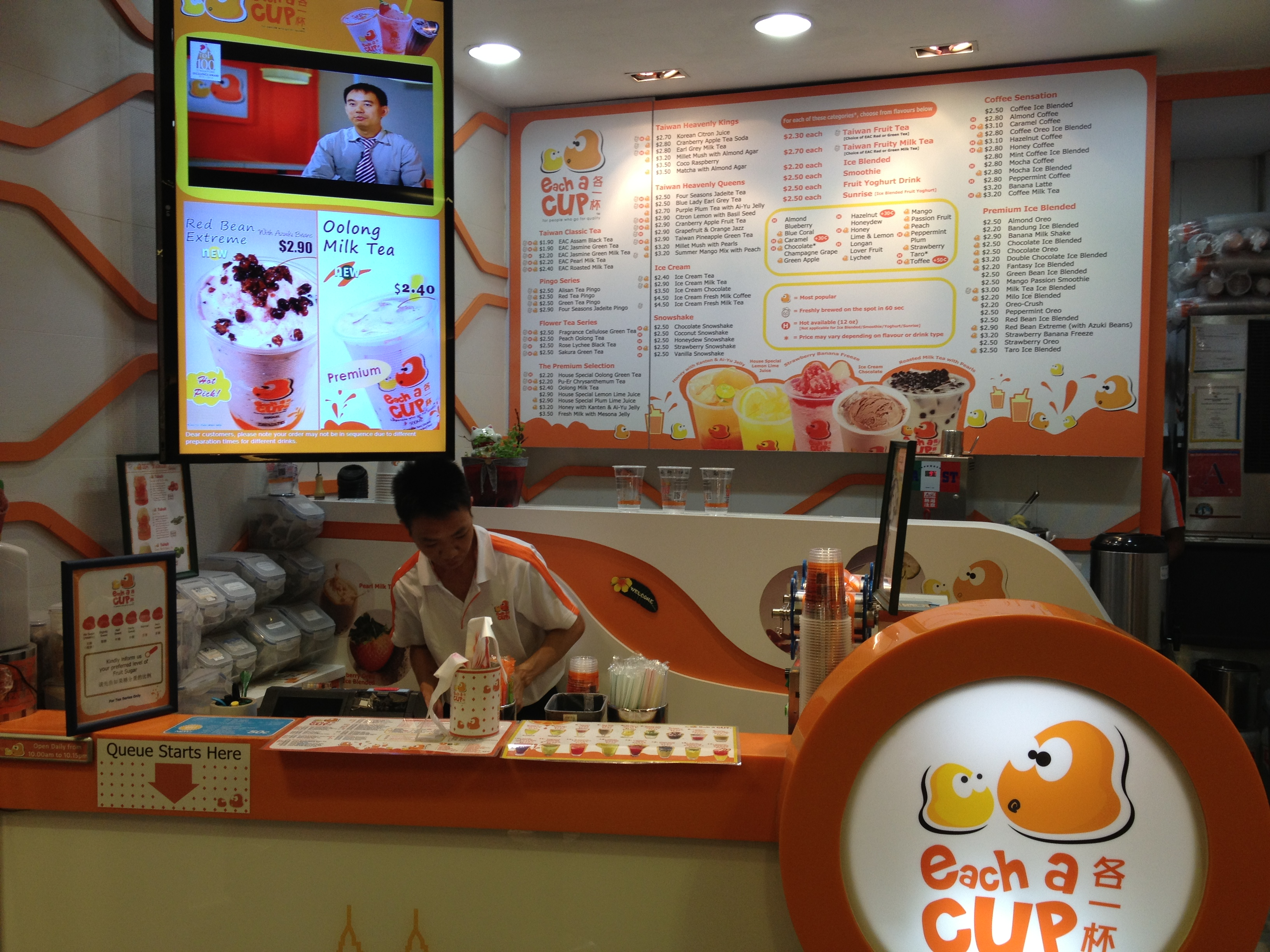 Each a Cup in Singapore: typical bubble tea sales point