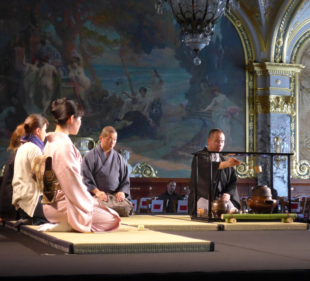Chanoyu Japanese tea ceremony performed by a tea master at Hotel du Paris