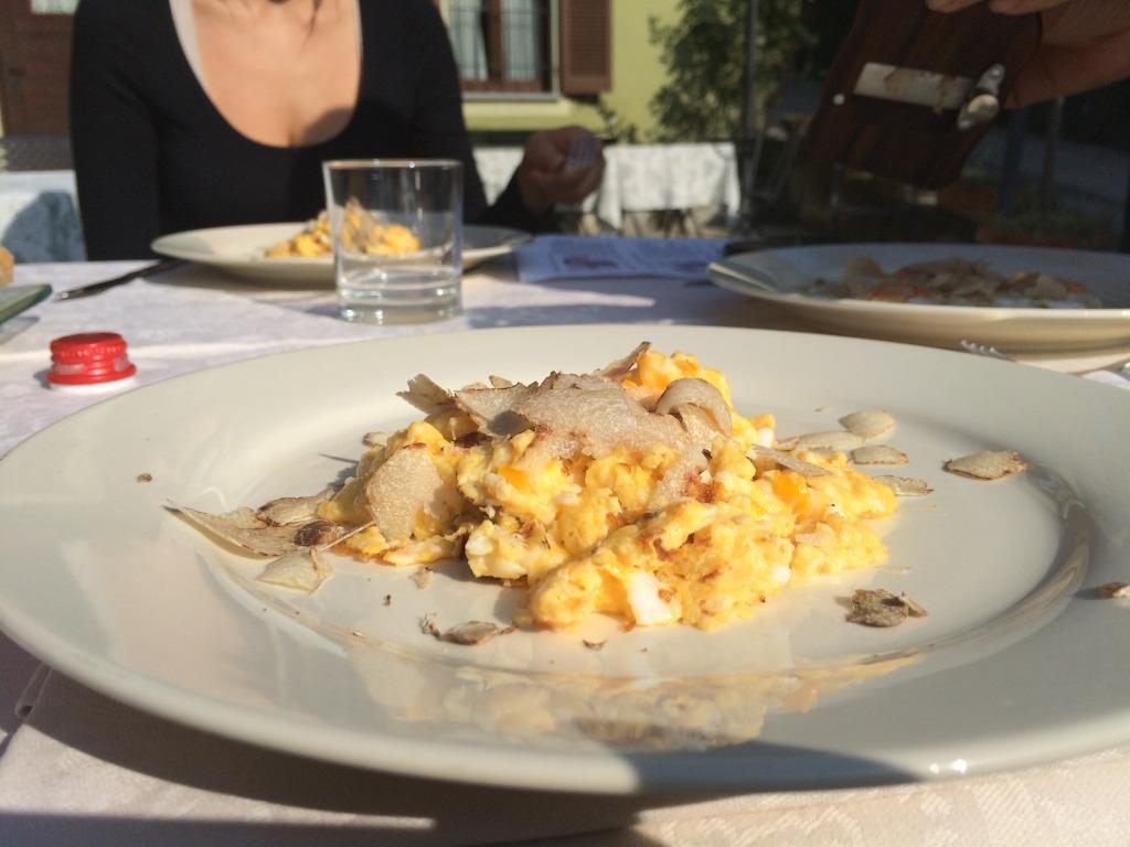 White Truffles on eggs in Piedmont