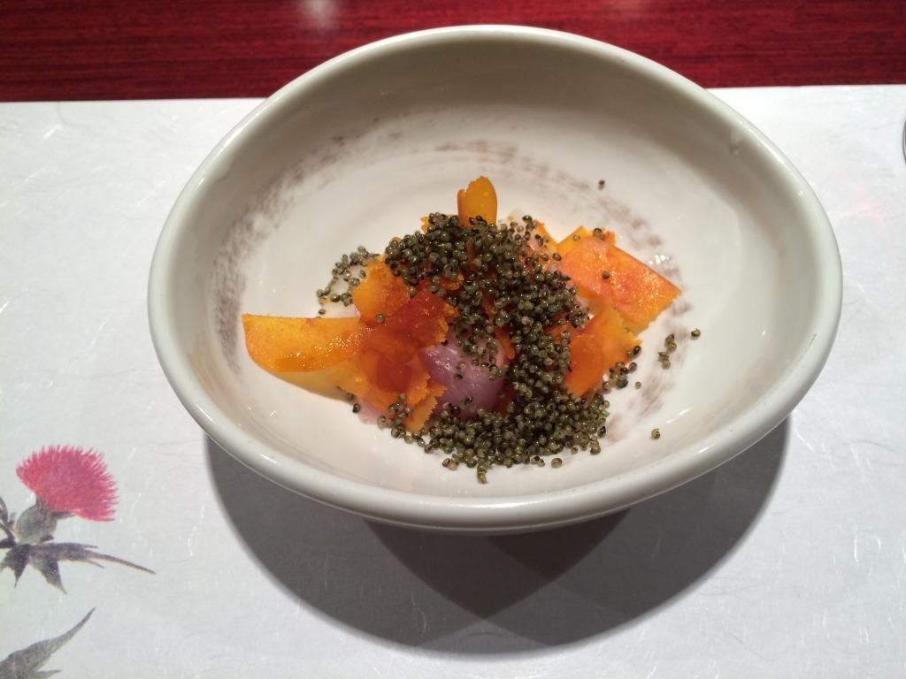 Botarga, raw fish and pickles at Rokkaku