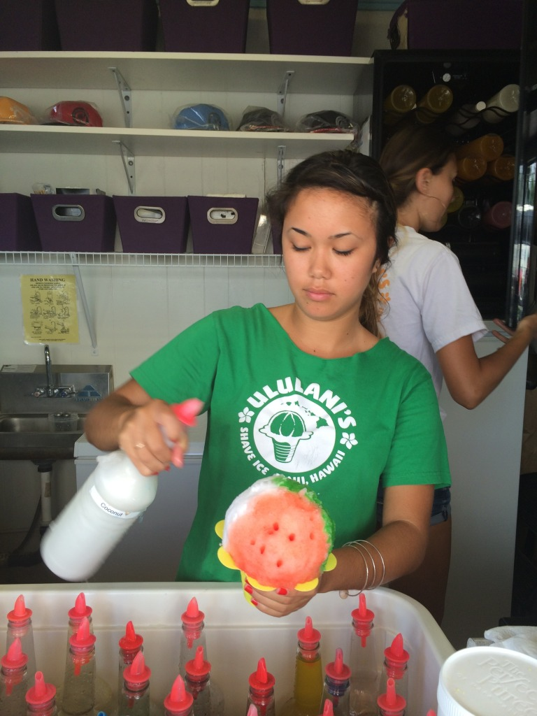 Adding flavours into Ululani's shave ice