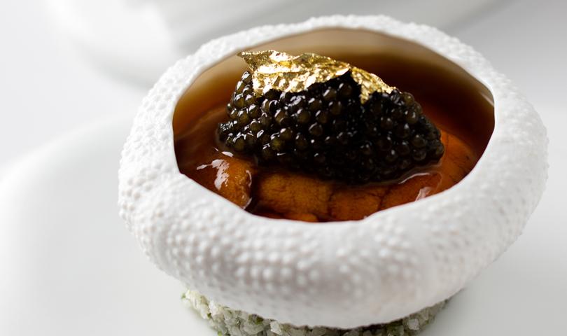 Amber uni with caviar