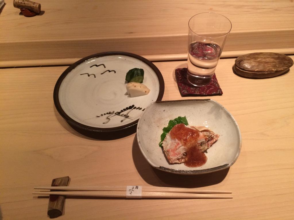 Snow crab with its roe at Sushi Yoshitake