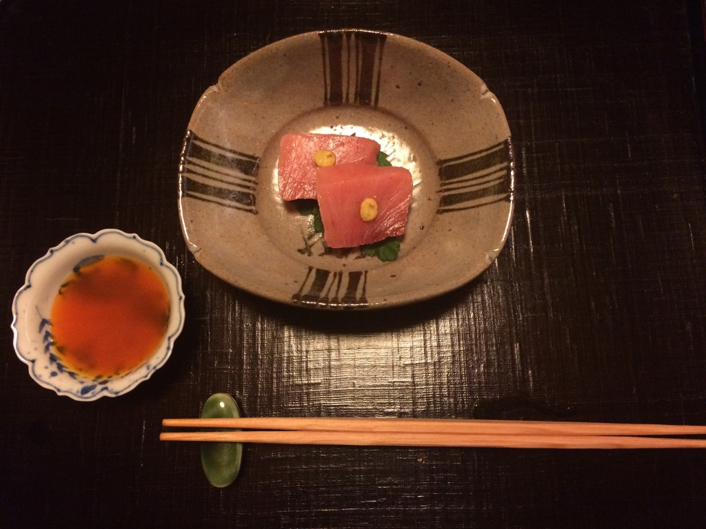 Sashimi of koshibi with soy-marinated egg yolk sauce