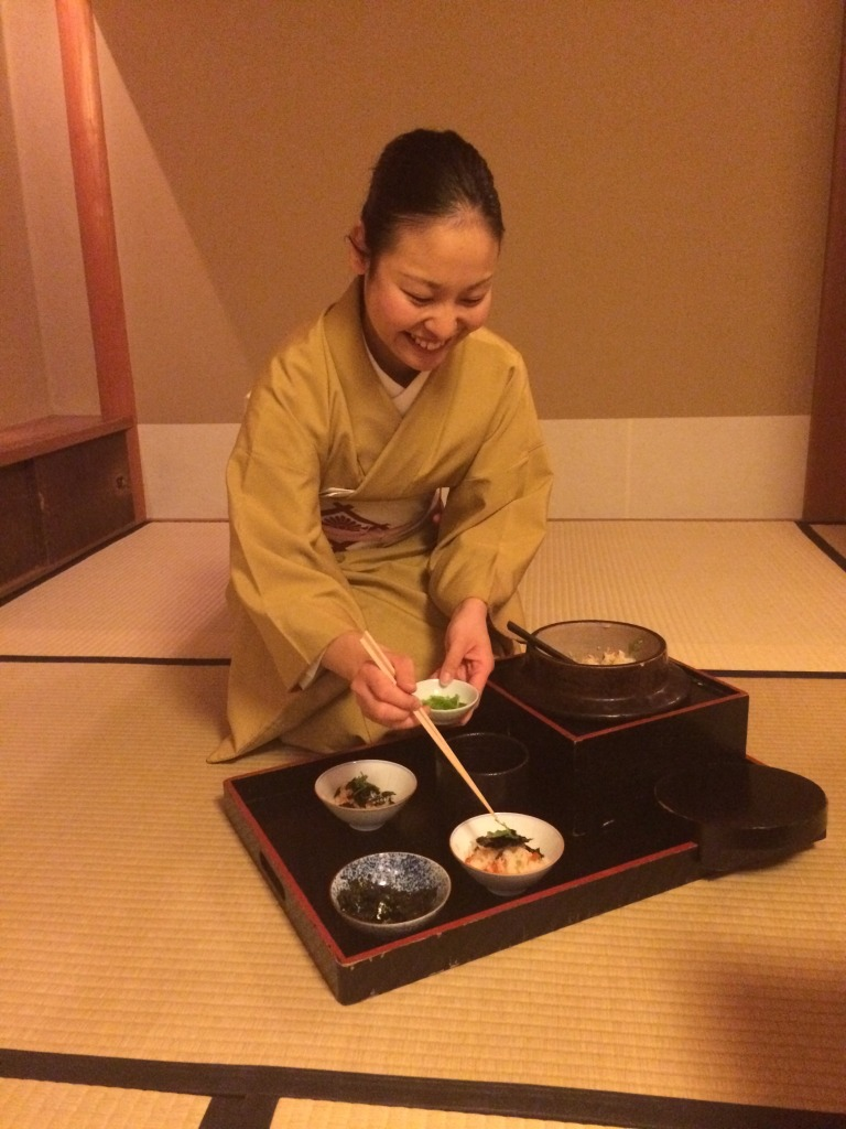 Serving Gohan at Kikunoi in Kyoto