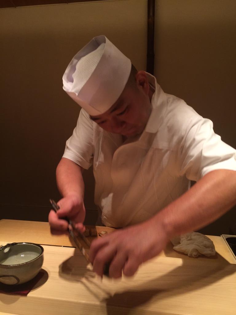 Sushi chef at Yoshitake preparing sushi