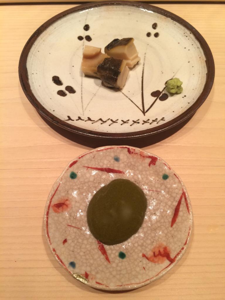 Abalone with its liver sauce at Sushi Yoshitake