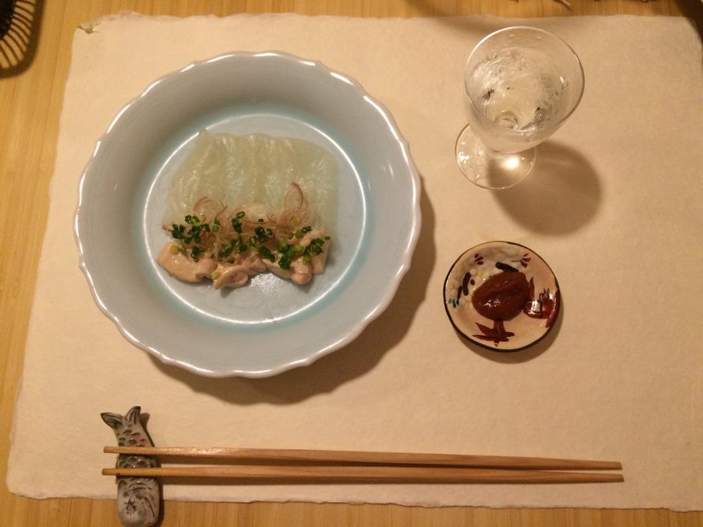 Mukozuke of white fish sashimi with its liver & umeboshi sauce