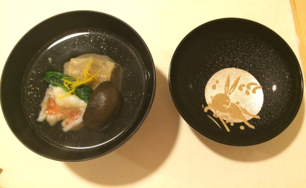 Lidded clear broth with shrimp, mushroom & vegetables at Kanda